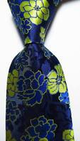 New Classic Floral Dark Blue Yellow JACQUARD WOVEN 100% Silk Men's Tie Necktie