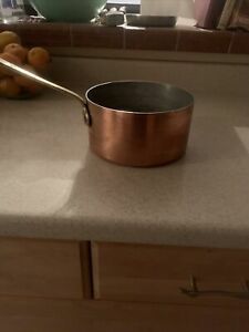 """ANTIQUE  FRENCH COPPER PAN  5.5""""  MADE IN FRANCE HAMMERED THICK COPPER 2mm"""