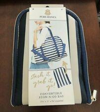 PURE HONEY STOW-N-GO Shoulder Bag Travel Tote Shopper Beach Blue Taupe Stripe