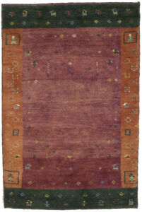 Thick Pile Rusty Red Border Tribal 3X4 Gabbeh Oriental Rug Contemporary Carpet