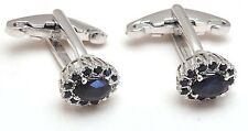 Natural Gem Stone Blue Sapphire 14 K Solid White Gold Men's Cufflink Jewelery