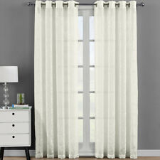 Melanie Embroidered Grommet Top Sheer Panel Curtain Sets Pair (Set of 2)