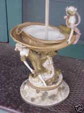 ANTIQUE ROYAL DUX BOHEMIA ART NOUVEAU TWO LADY FIGURINE ON SHELL LAMP LARGE