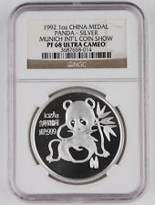 1992 China Munich Intl Coin Expo 1 Oz Silver Panda Proof Medal Coin NGC PF68 UC