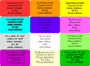 COLOURED Personalised Labels Sender Return Security Craft  Font Choice Any Text