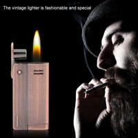 Vintage Oblate Fashion Metal Windproof Jet Torch Gas Butane Lighter Without Fuel