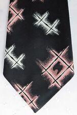 Strange hippie tie Vintage kipper 1960s 1970s black pink white 4.5 inch wide VGC