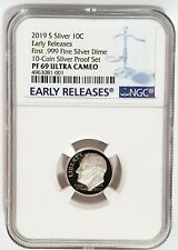 2019-S 10C Proof ROOSEVELT First 999 fine SILVER Dime NGC PF 69 -Early Releases-