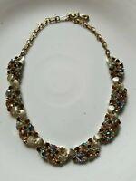 WoW! Vintage 1950s Gold Signed LISNER Necklace Topaz Aurora Borealis RHINESTONEs