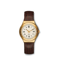 "*RARE MINT* 1997 Swatch Irony Big ""ROMANICO"" YGG106 Leather Gold Watch"