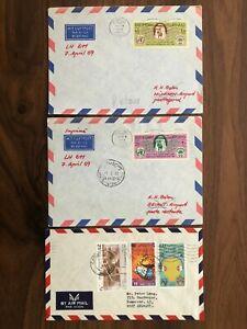 3 X KUWAIT UNITED ARAB EMIRATES OLD COVER KUWAIT TO GERMANY 1969 !!