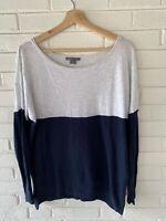 Vince Womens Long Sleeve Top Navy Blue White Color Block Cotton Size M C13