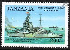 Día D Hms Warspite (03) acorazado Buque De Guerra incendios en posiciones de la segunda guerra mundial sello alemán