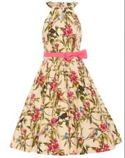 LINDY Bop Cherel Pink Tropical Bird Floral Print Cotton Swing Dress Size 22