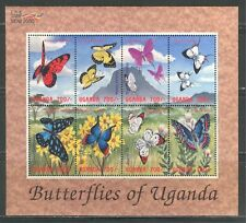 UGANDA 2000, INSECTS: BUTTERFLIES, Scott 1651 SHEET OF 8 DIFFERENT, MNH