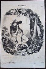 DAUMIER, LITHOGRAPHIE ORIGINALE,PASTORALES N°44, PIEGES A LOUP