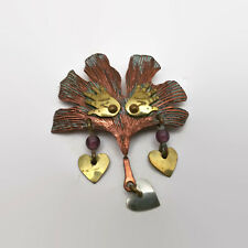 Mixed Metals Hearts And Hands Pin Signed Bicker 1990