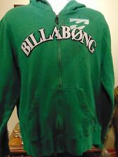Billabong Men's Full Zip Green Hoodie Jacket Sewn Spell Out Logo Large