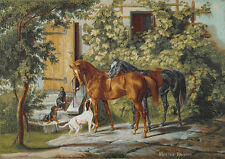 """38"""" WALL JACQUARD WOVEN TAPESTRY Landscape w/ Horses & Dogs EURO ANIMAL PICTURE"""