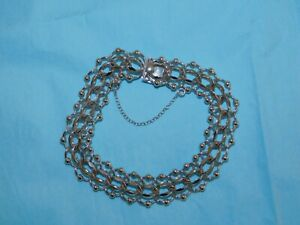 Vintage Double Curb Beaded Elco Stirling Charm Bracelet
