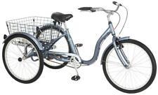 """Schwinn Meridian Adult Tricycle, 24"""" wheels, rear storage basket, Slate"""
