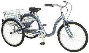 "Schwinn Meridian Adult Tricycle, 24"" wheels, rear storage basket, Slate"