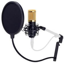 Studiomikrofon Großmembran Mikro Kondensator Recording Mic Popschutz Set Schwarz