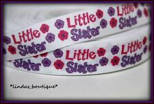 "1YD 7/8"" LITTLE SISTER SCRIPT CRAFTS HAIRBOW PRINTED GROSGRAIN RIBBON PURPLE PNK"