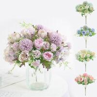 Bouquet Artificial Fake Peony Silk Flower Bridal Hydrangea Wedding Home Decor