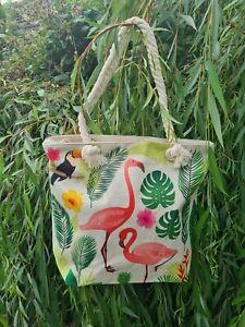 Flamingo & Tropical Shopper Rope Bag  Tropical Tote Bag Half Price £8.50