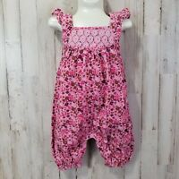 Pumpkin Patch Baby Girls Overalls Romper 6-12 Mo Pink Floral Ruffled Elastic Hem