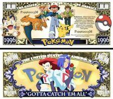 Pokémon Charizard Pikachu Collectible Novelty Million Dollar Bills 25 Pack