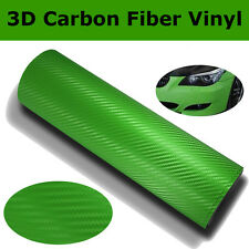 "12""x200"" 3D Green Carbon Fiber Vinyl Car Wrap Sheet Roll Film Sticker Decal"