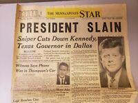JOHN F. KENNEDY ASSASSINATION Minneapolis Star Tribune Old Newspaper JFK Oswald