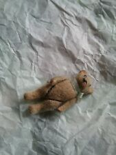 miniature metal teddy bear, flocked, antique original