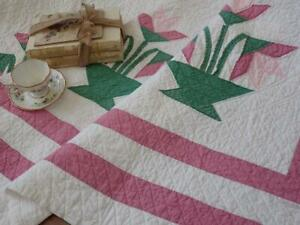 Summerhouse Perfect! Vintage Pink & Mauve Carolina Lily QUILT 76x67 Cottage Home