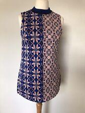 H&M Women's Purple Sleeveless Knitted High Neck Jumper Mod Style Size 12 BNWT