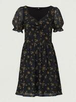 V By Very Mesh Black Yellow & Floral Mini Dress Sweetheart Neck Size 10 BNWT £25