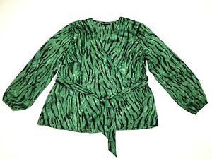 INC International Concepts INC Plus Size 2X Green Photo Animal Print Wrap Top