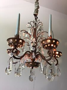 Antique French 1920 Crystal and Gilded tole Chandelier in 18th century style