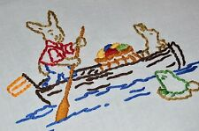 Easter Bunny Has Gone Fishing! Vtg German Hand Emb Tablecloth Squirrel Frog