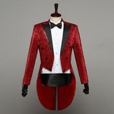 Mens Sparkling Long sleeve Lapel Double-breasted Swallow-tailed coat Barman Chic