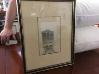 Original Art Work-c 1967-Pencil Drawing Of A Back Of A Train-Excellent Condition