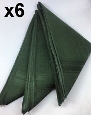 6 Mens Quality Green Handkerchiefs, 100% Cotton Hankies, Business Hanky