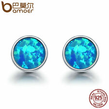 Bamoer Authentic 925 Silver Stud earrings With Blue Opal For Women Retro Jewelry