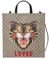"NEW GUCCI CURRENT GG SUPREME BLACK LEATHER ""ANGRY CAT"" PRINT TOTE BAG UNISEX"