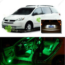 For Toyota Sienna 2004-10 Green LED Interior Kit + Xenon White License Light LED