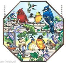 "Birds On A Fence * Cardinal Blue Jay Robin Bluebird 22"" Octagon Glass Art Panel"