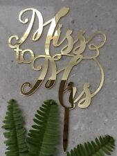 Miss to Mrs Acrylic Gold Mirror Bridal Shower Cake Topper