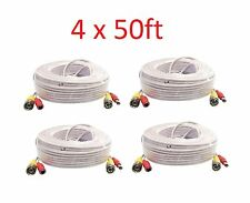 White New 4X 50ft BNC CCTV Video Power Cable CCD Security Camera DVR Wire Cord